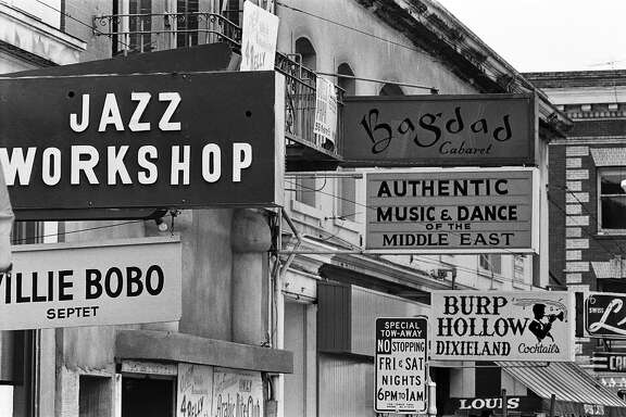 SAN FRANCISCO - 1967:  Jazz clubs line the street in early summer 1967 in San Francisco, California. Note that the Willie Bobo Septet is playing at the Jazz Workshop.