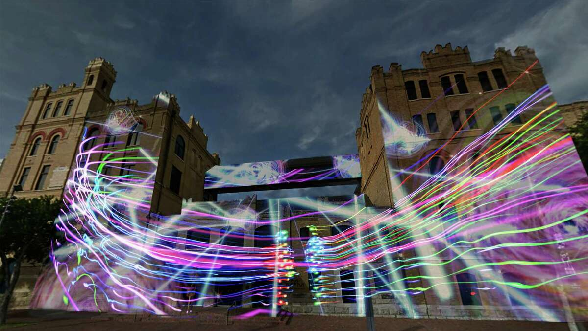 """This is a rendering by artist Siyon Jin of his Luminaria project """"Flow,"""" a light projection on the facade of the San Antonio Museum of Art."""
