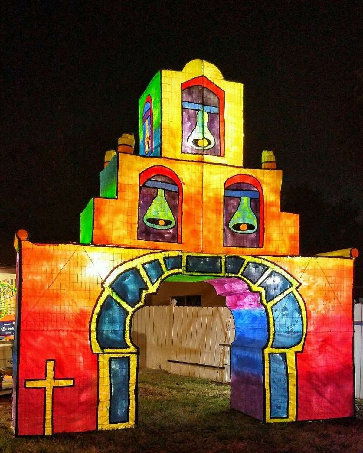 A contemporary light sculpture of Mission Espada is one of a series of works being created for Luminaria by Momo & Pompa.