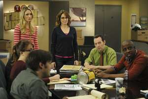 """30 ROCK -- """"Part 1: Hogcock! Part 2: Last Lunch"""" Episode 712/713 -- Pictured: (l-r) Katrina Bowden as Cerie, Tina Fey as Liz Lemon, Keith Powell as Toofer -- (Photo by: Ali Goldstein/NBC) 30 ROCK -- """"Part 1: Hogcock! Part 2: Last Lunch"""" Episode 712/713 -- Pictured: (l-r) Katrina Bowden as Cerie, Tina Fey as Liz Lemon, Keith Powell as Toofer -- (Photo by: Ali Goldstein/NBC)"""