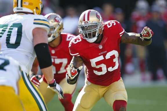 San Francisco 49ers inside linebacker NaVorro Bowman (53) plays against the Green Bay Packers during an NFL football game in Santa Clara, Calif., Sunday, Oct. 4, 2015. (Jeff Haynes/AP Images for Panini)