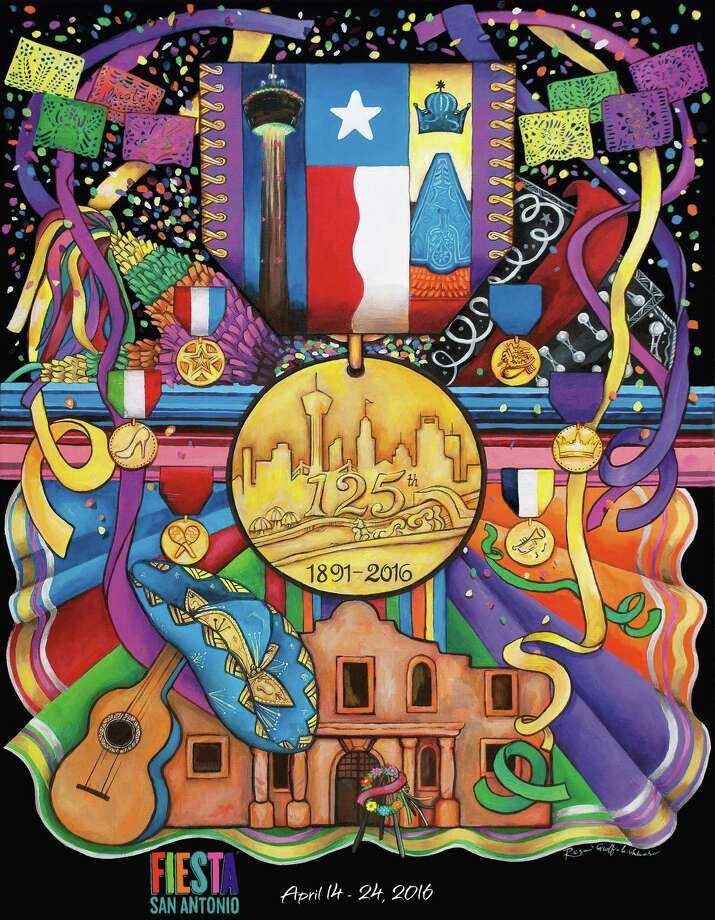 The Fiesta San Antonio Commission unveiled the official 2016 Fiesta poster Thursday night at the Tobin Center for the Performing Arts. Artist Resa Groff Wohlrabe's design features a large gold Fiesta medal with an image of the San Antonio skyline and River Walk. It is surrounded by emblems of the city and the celebration. It is available for sale online and at the Fiesta Store, 2611 Broadway, beginning 10 a.m. Friday. Photo: Courtesy Fiesta San Antonio Commission