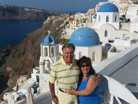 Cindi and Bill Ekberg, of Pacifica, in Santorini, Greece.
