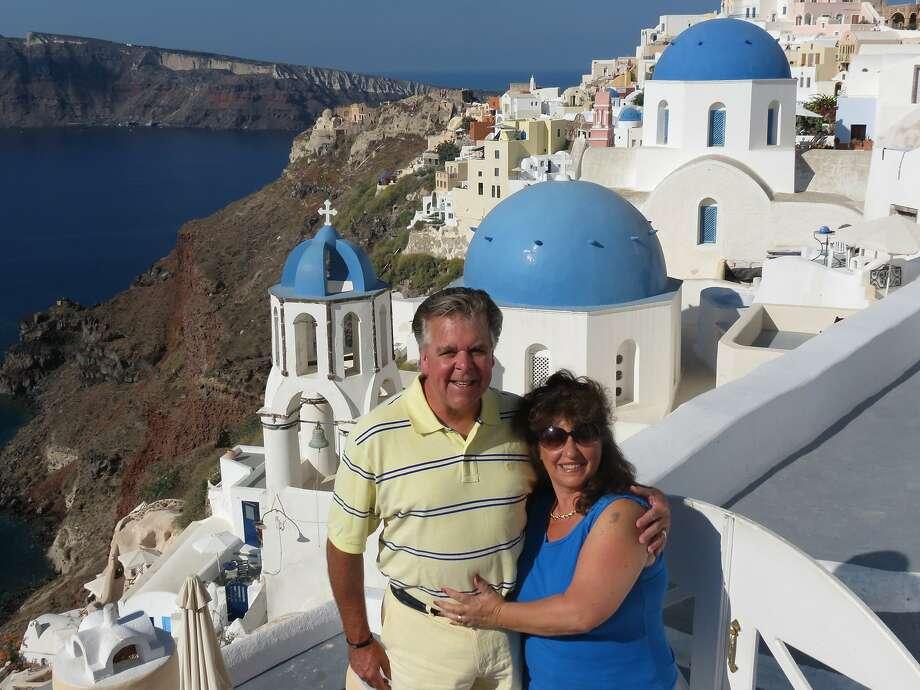 Cindi and Bill Ekberg, of Pacifica, in Santorini, Greece. Photo: Courtesy Cindi Ekberg