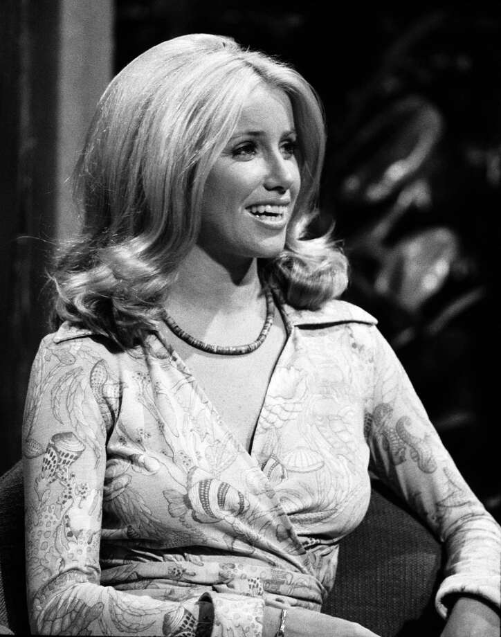 "Actress Suzanne Somers, born October 16, 1946, is best known for the 1970s sitcom ""Three's Company"" and as a pitchwoman for the Thighmaster. Here she is on ""The Tonight Show"" on July 5, 1974. Photo: NBC, Getty Images / © NBC Universal, Inc."