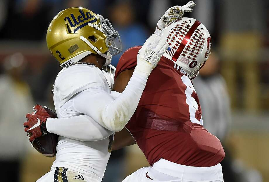 Francis Owusu #6 of the Stanford Cardinal's catches a touchdown pass up against the back of Jaleel Wadood #2 of the UCLA Bruins in the third quarter of an NCAA football game at Stanford Stadium on October 15, 2015 in Stanford, California.  Photo: Thearon W. Henderson, Getty Images