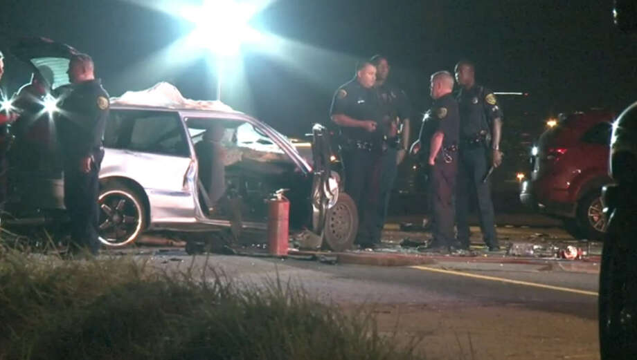 A wrong-way driver died Thursday night, Oct. 15, 2015, and another motorist was injured when they collided head-on along Highway 288 in south Houston. Photo: Metro Video