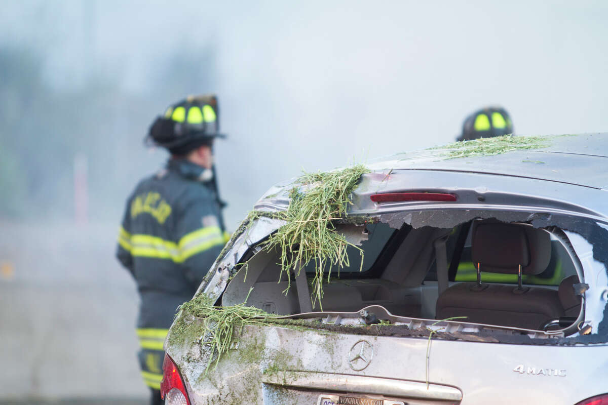 Highway 37 near Sacramento St. was shut down Friday morning in Vallejo as city firefighters put out a blaze after a hay truck caught on fire. Witnesses, including a Sacramento-area man who said his car was struck, said that the hay truck hit at least one other car before catching fire and then striking his car. No serious injuries resulted from the crash.