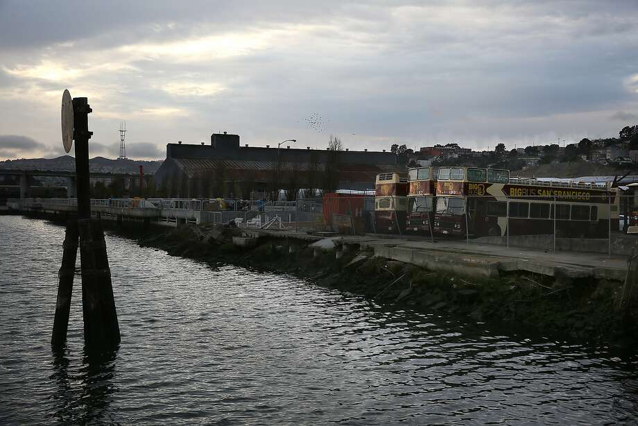 Proposed site of the Warriors arena is waterfront along Islais Creek on the north side and is bordered by the 280 freeway (background on left), Cesar Chavez St., and third street in San Francisco, Calif., on Thursday, October 15, 2015. Photo: Liz Hafalia, The Chronicle