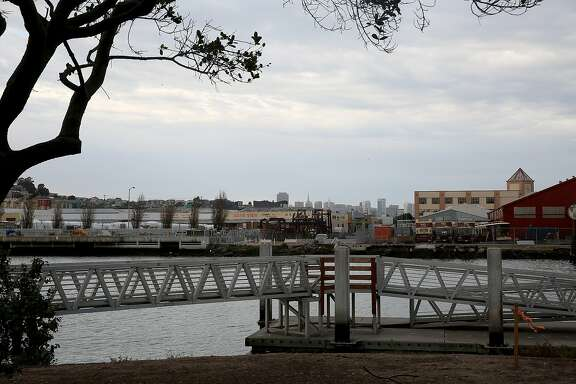 Proposed site of the Warriors arena is waterfront along Islais Creek on the north side in San Francisco, Calif., on Thursday, October 15, 2015.