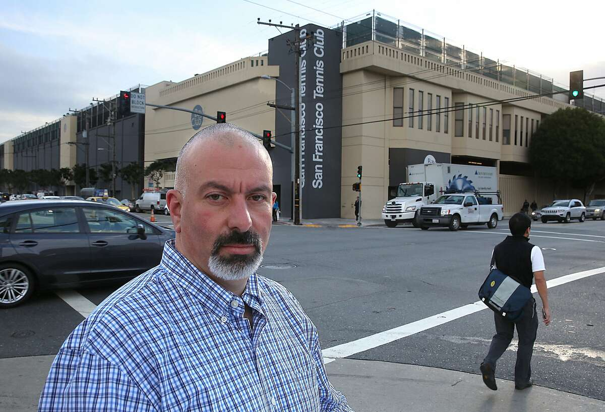 San Francisco Tennis Club member Harris Schwartz is getting ready to rally against redevelopment plans that may not consider inclusion of the tennis club in San Francisco, Calif., on Friday, October 16, 2015.