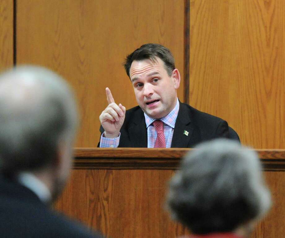 Selectman Drew Marzullo, a Democrat seeking re-election to the board, takes part in the League of Women Voters of Greenwich debate at Town Hall in Greenwich Thursday night. Photo: Bob Luckey Jr. / Hearst Connecticut Media / Greenwich Time