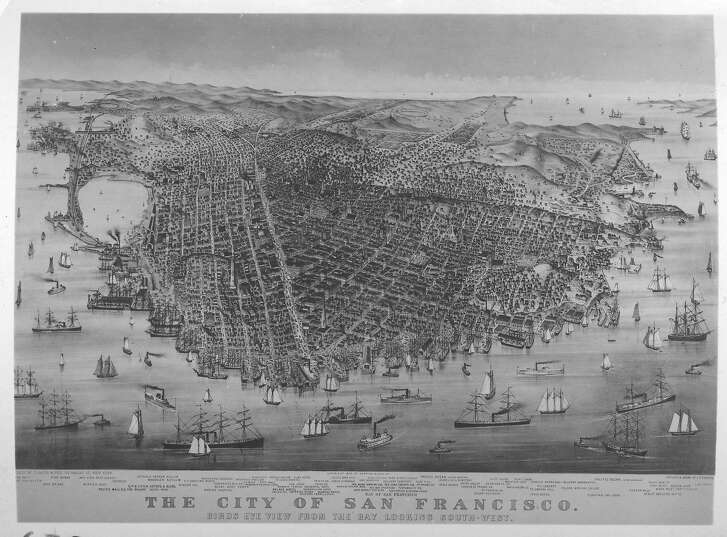 San Francisco view, 1878, Currier & Ives, NY. Showing a view of the city from the SE.
