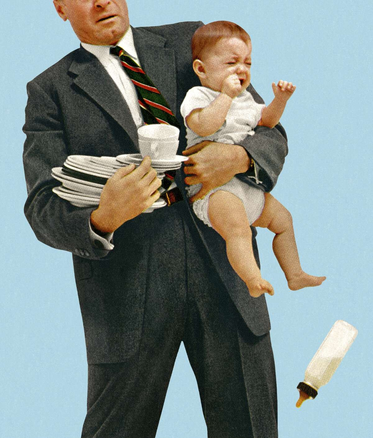 Caption: Man Struggling to Hold Baby and Dishes