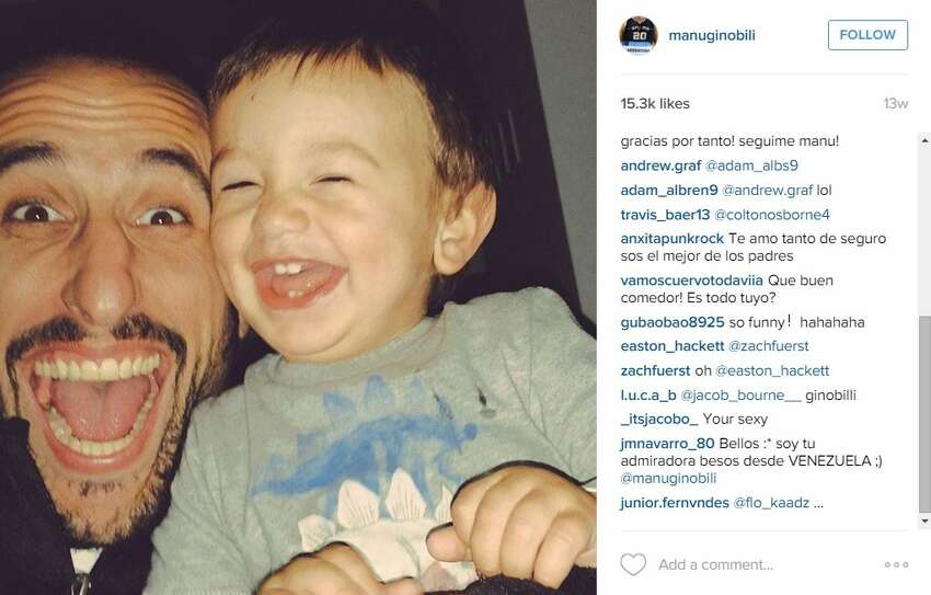 Manu Ginobili's son was his selfie partner in this one.