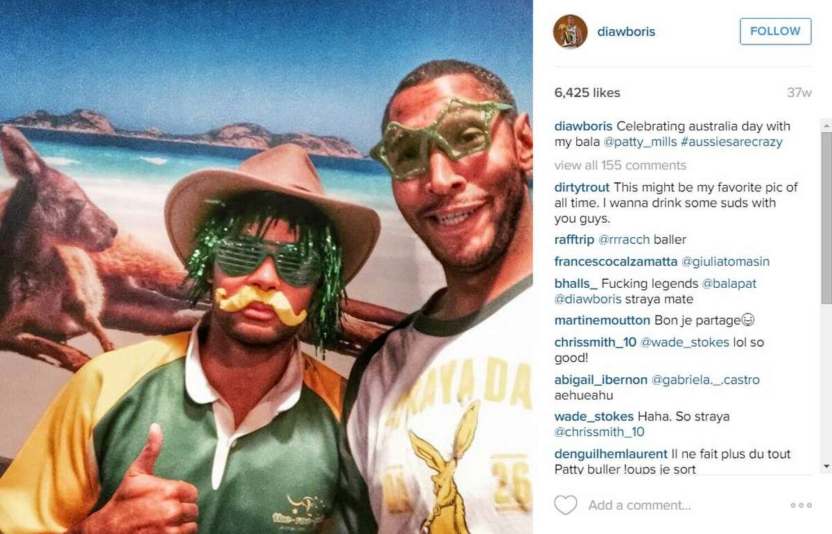 Boris Diaw and Patty Mills being silly.