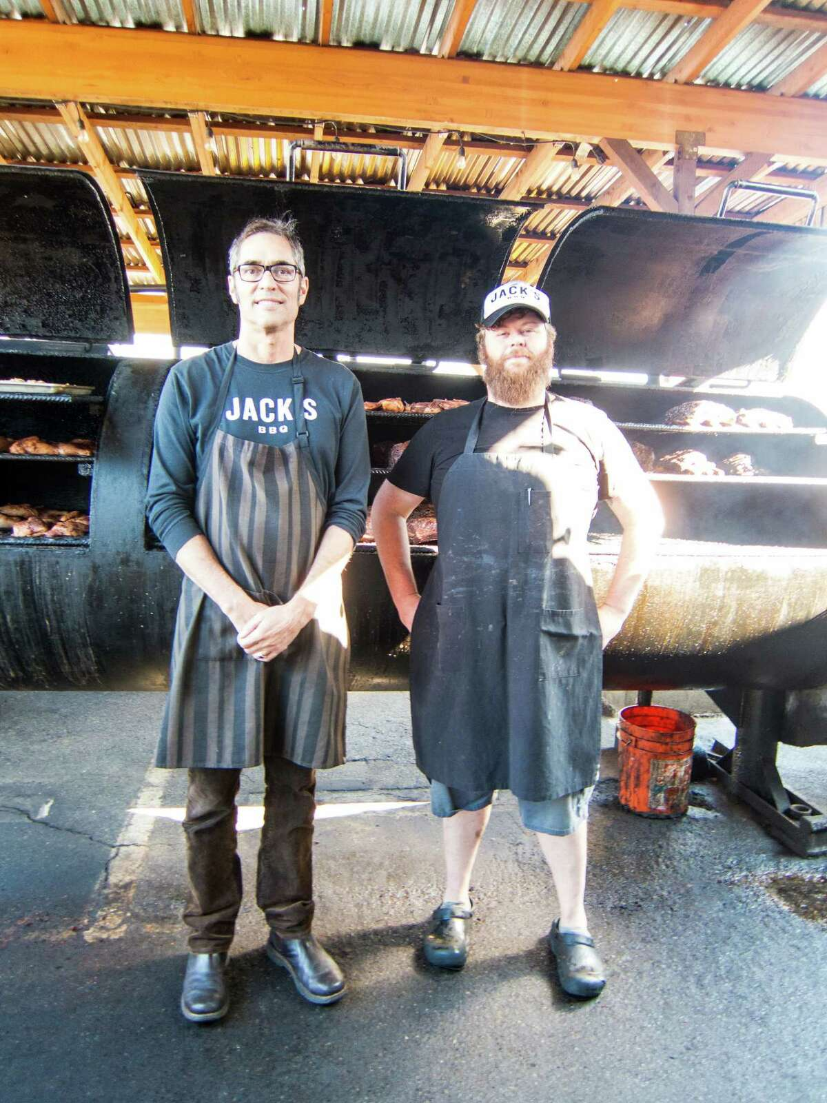 Jack Timmons, left, and Tony White at Jack's BBQ in Seattle. Jack's BBQ - Seattle