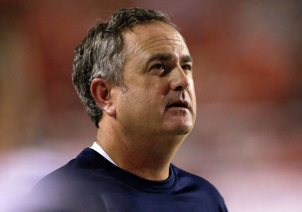 California head coach Sonny Dykes looks on in the second half during an NCAA college football game against Utah Saturday, Oct. 10, 2015, in Salt Lake City. Utah won 30-24. (AP Photo/Rick Bowmer)