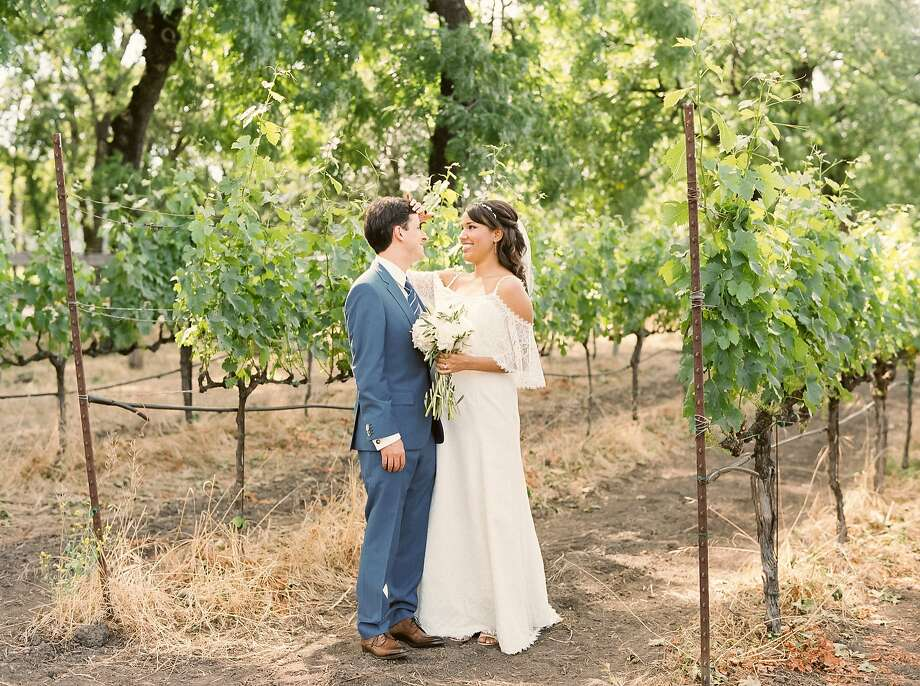 Chasa Toliver and Sébastien Léger wed at St. Helena Catholic Church with a reception at Farmstead Long Meadow Ranch and Winery in Napa Valley. Photo: Robin Jolin Photography