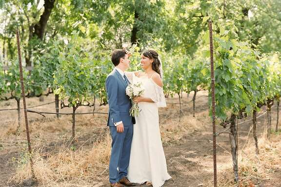 Chasa Toliver and Sebastien Leger wed at St. Helena Catholic Church with a reception at Farmstead Long Meadow Ranch and Winery.