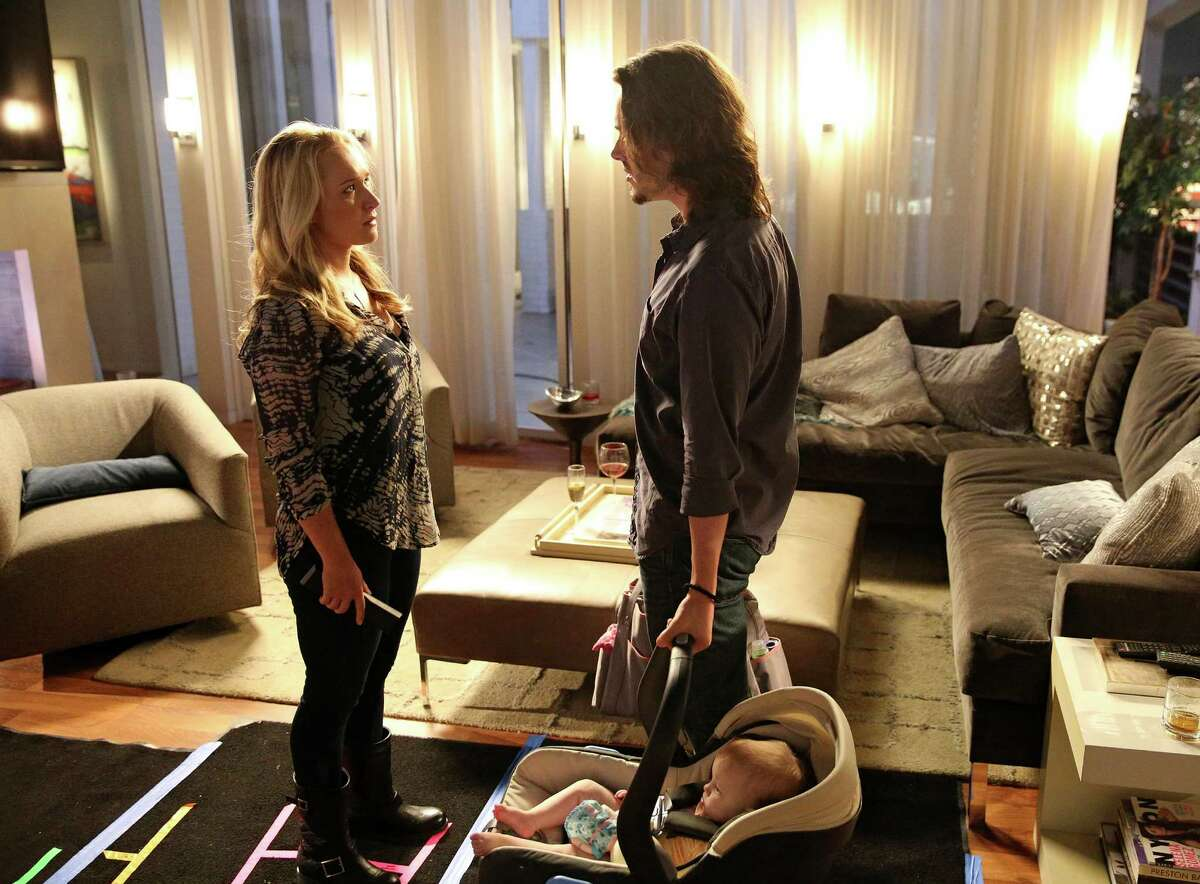 """In this scene from """"Nashville,"""" Hayden Panettiere (left) plays new mother Juliette Barnes. A spokeswoman for Panettiere says that the """"Nashville"""" star is voluntarily seeking professional help at a treatment center while battling postpartum depression. Panettiere gave birth to her daughter in December."""