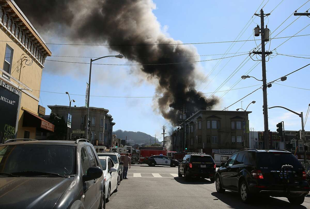 A three-alarm fire at 425 2nd Ave. in San Francisco, Calif., significantly damaged a home on Friday, October 16, 2015. No injuries were reported.