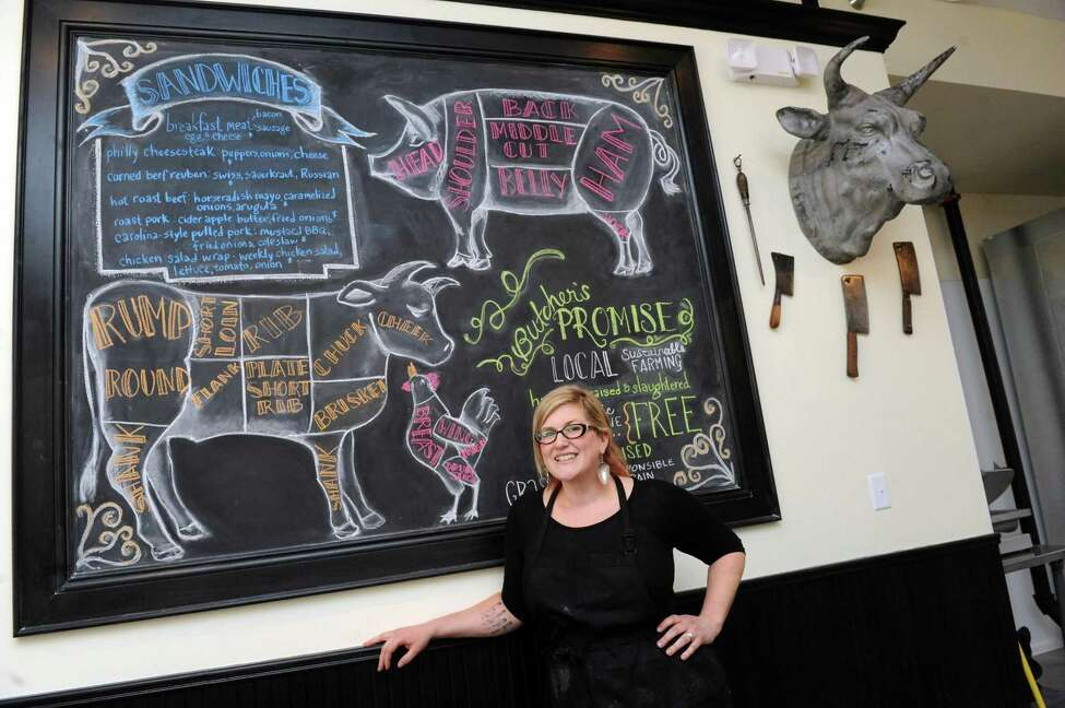 Butcher/owner Emily Petersen of Sentinel Butchery at 225 River Street on Friday Oct. 16, 2015 in Troy, N.Y. (Michael P. Farrell/Times Union)