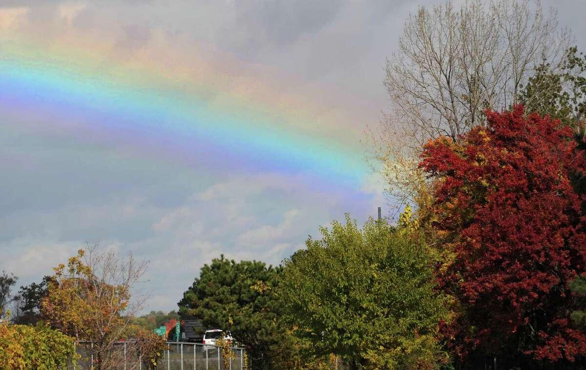 A rainbow is seen over interstate 87 on Friday, Oct. 16, 2015 in Colonie, N.Y. (Lori Van Buren / Times Union)