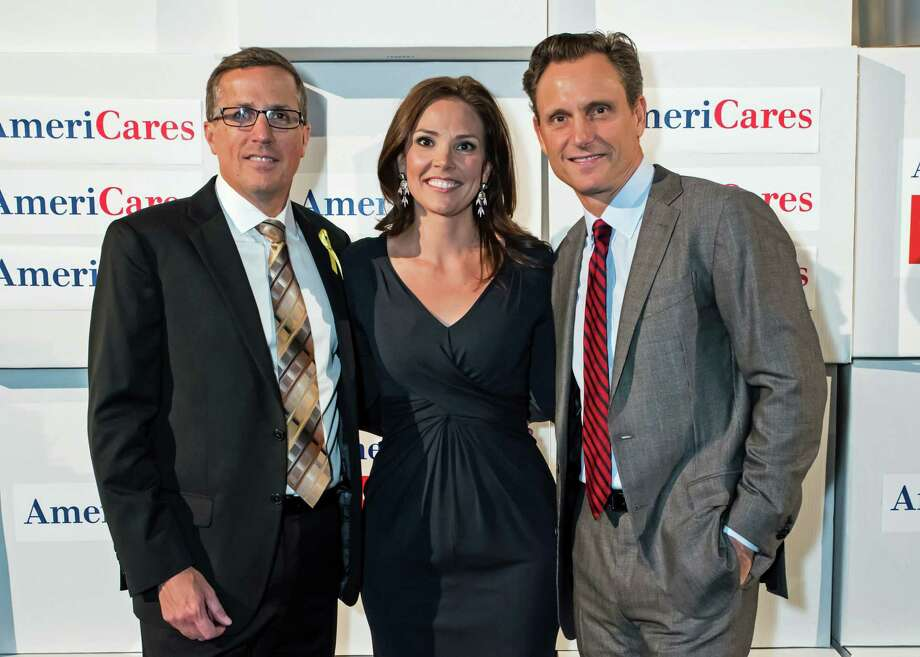 Michael Nyenhuis, President and CEO of AmerCares, TODAY co-host Erica Hill and actor Tony Goldwyn at the 28th annual AmeriCares Airlift Benefit at Westchester County Airport Oct. 3. Photo: Contributed / Contributed Photo / Greenwich Time Contributed