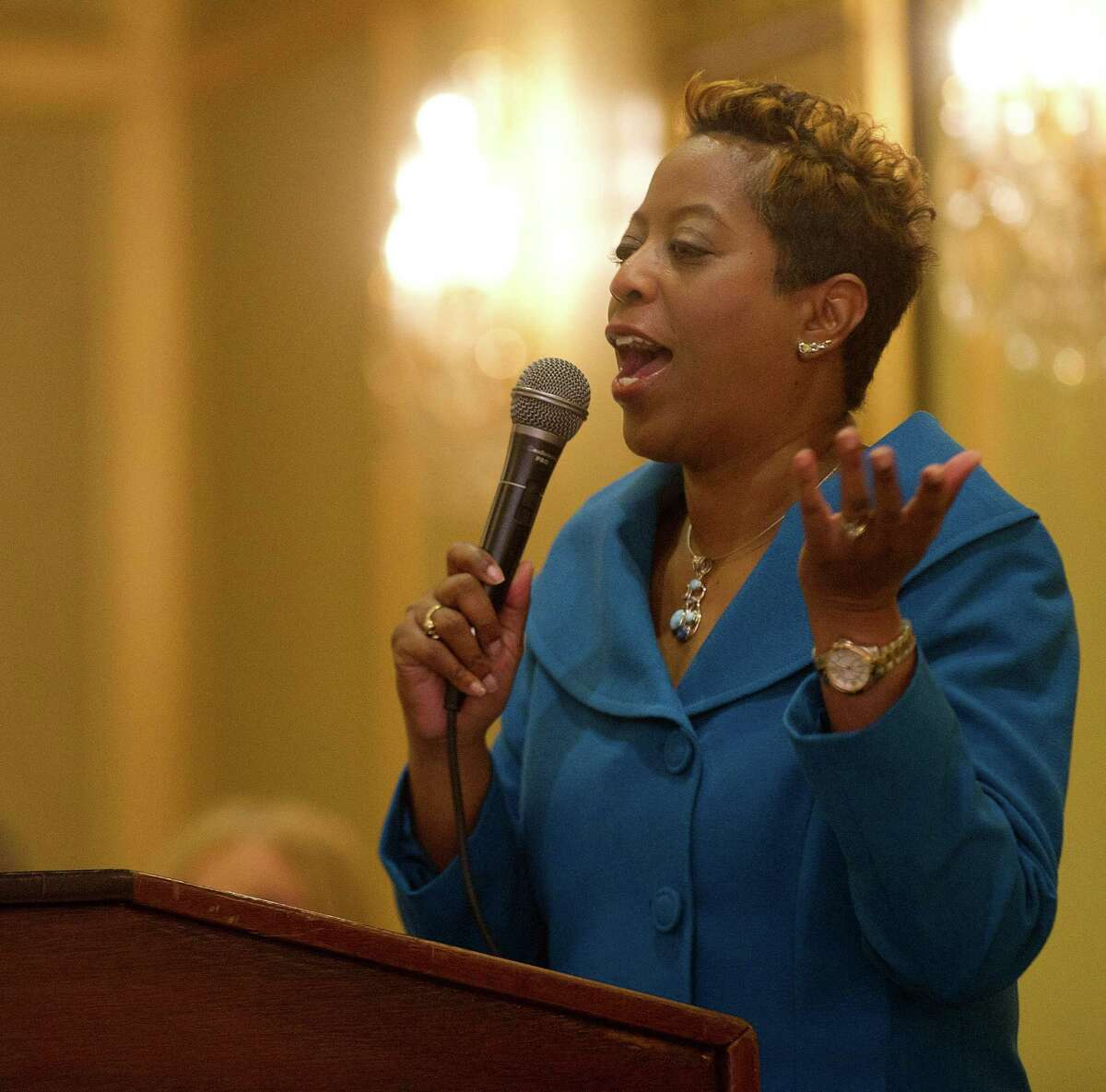 Dorye Jackson, Mistress of Ceremony, speaks during the Stamford NAACP annual freedom fund and awards dinner at the Stamford Plaza Hotel in Stamford, Conn., on Friday, October 25, 2013.