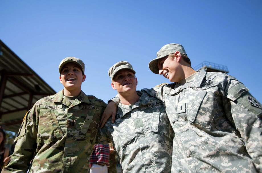 Army Rangers Capt. Kristen Griest (from left), Maj. Lisa Jaster and 1st Lt. Shaye Haver have become role models for the female cadets at West Point. Photo: Branden Camp /Associated Press / FR171034 AP