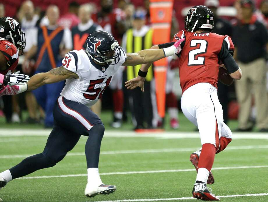 Texans outside linebacker John Simon (51) looks to see more playing time against Jacksonville on Sunday with Jadeveon Clowney being ruled out and Whitney Mercilus moving up to replace Clowney. Photo: Brett Coomer, Staff / © 2015  Houston Chronicle
