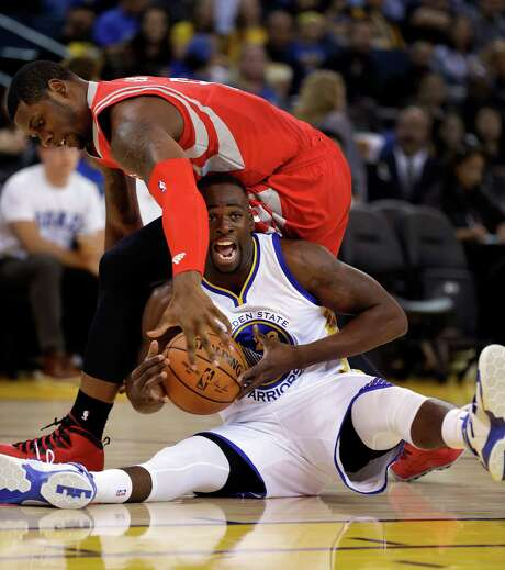 Terrence Jones was one of the few healthy Rockets available to play against Draymond Green and the Golden State Warriors on Thursday night. Photo: Ben Margot, STF / AP