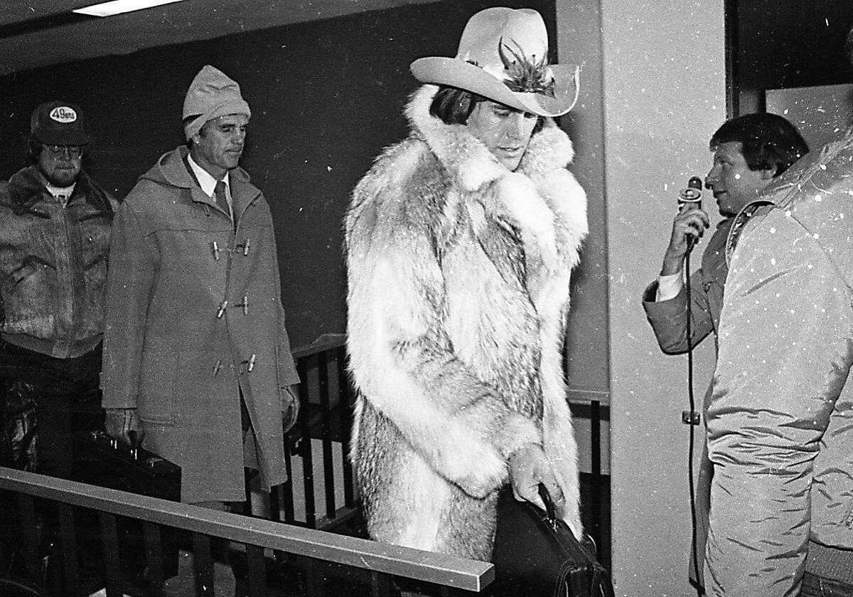 """Dwight Clark's fur coat and cowboy hat The 49ers wide receiver may have regretted his sartorial choice later, but none of us do. The amazing look, worn for Super Bowl XVI in Detroit, came courtesy of a clothing store in Union Square. Joe Montana and Clark were given coyote fur coats after a photoshoot. """"Geez, I was trying to be Joe Namath,""""Clark said in 2018. """"Terrible."""""""