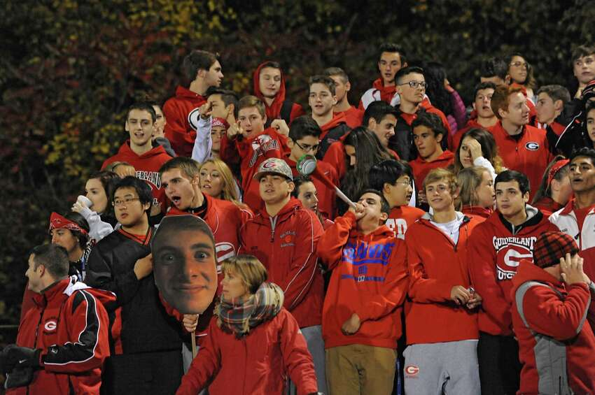Guilderland student fans cheer during a football game against Shenendehowa on Friday, Oct. 16, 2015 in Guilderland, N.Y. (Lori Van Buren / Times Union)