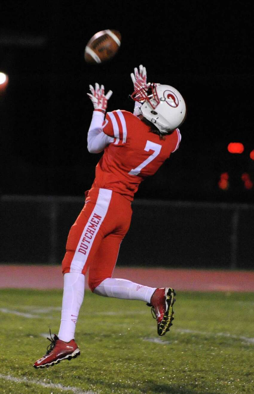 Guilderland's Steven Fedorchak makes a fair catch during a football game against Shenendehowa on Friday, Oct. 16, 2015 in Guilderland, N.Y. (Lori Van Buren / Times Union)