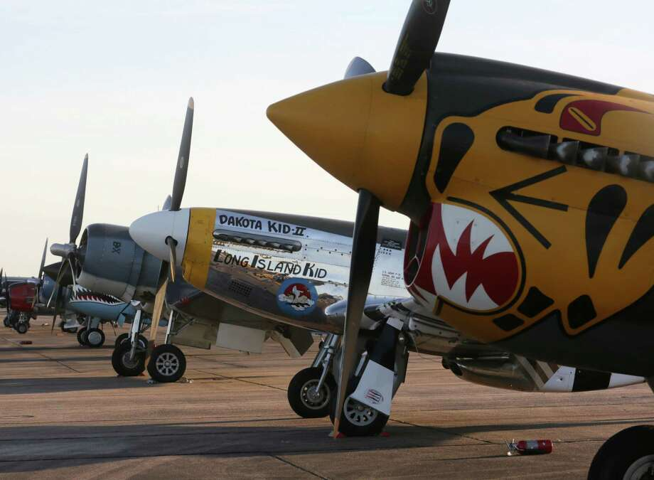 A row of World War II aircraft is seen at Ellington Field Joint Reserve Base Friday, Oct. 16, 2015, in Houston. Photo: Jon Shapley, Houston Chronicle / © 2015 Houston Chronicle