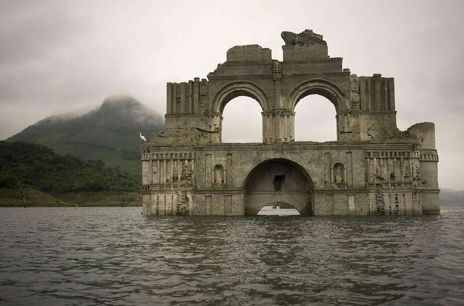 A mid-16th century church's remains have emerged from the Nezahualcoyotl reservoir in Chiapas state. Photo: David Von Blohn, Associated Press