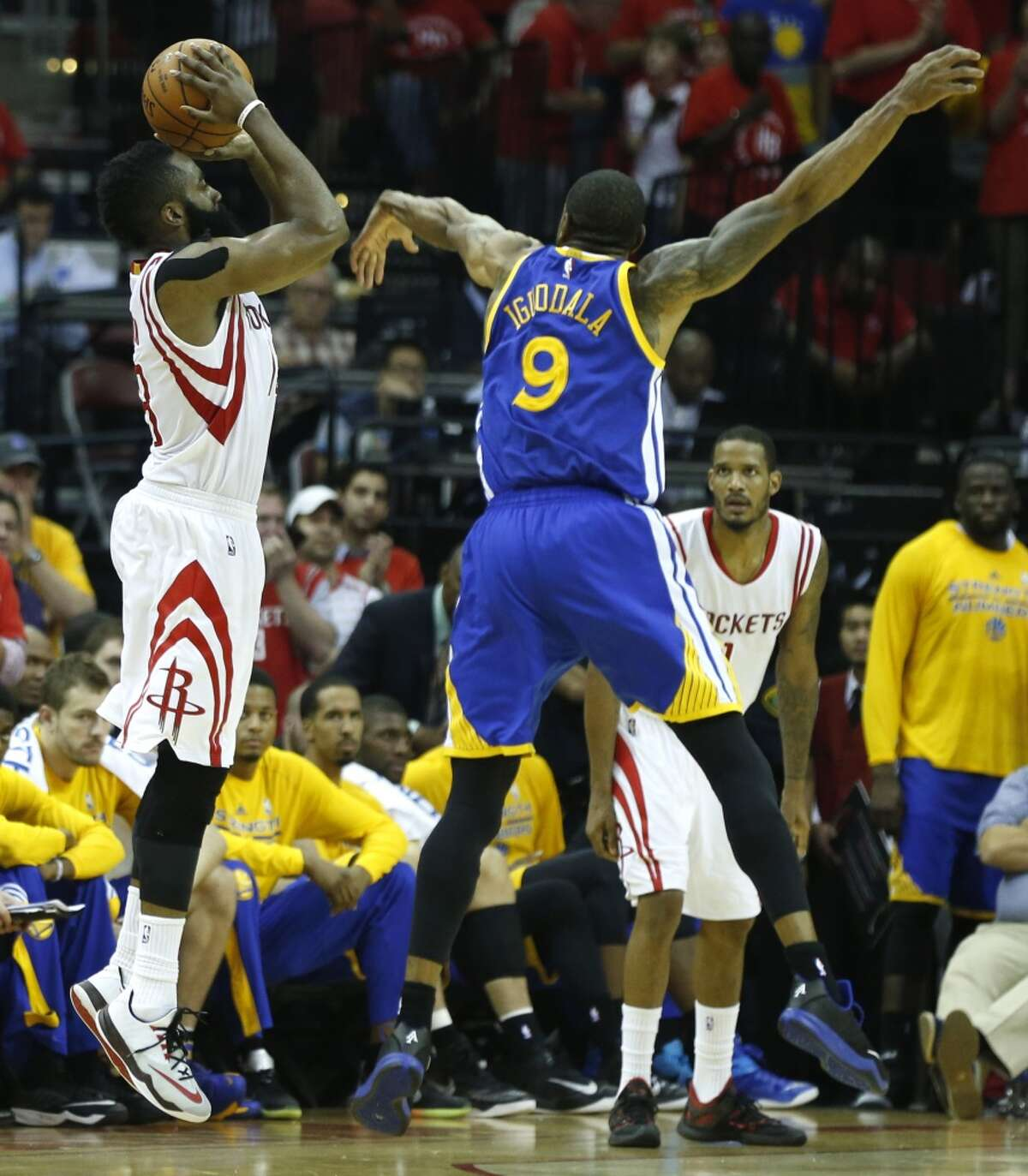 May 25, 2015: Rockets 128, Warriors 115By the numbers: 45 points, 7 of 11 3-pointers, 12 of 13 free throws, nine rebounds. Bearding: After two tough losses in Oakland in which Harden lost the ball in the closing seconds of Game 1 and was held to 17 points in Game 2 of the Western Conference Finals, Harden helped lead a phenomenal first quarter in a start-to-finish win that kept the Rockets' postseason hopes alive. Beardspeak: