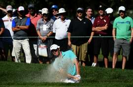 NAPA, CA - OCTOBER 16:  Rory McIlroy of Northern Ireland plays a shot from a bunker on the seventh hole during the second round of the Frys.com Open on October 16, 2015 at the North Course of the Silverado Resort and Spa in Napa, California.  (Photo by Steve Dykes/Getty Images)