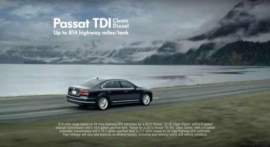"This is a framegrab from a Volkswagen commercial for a vehicle with their TDI Clean Diesel engine. The Federal Trade Commission (FTC) is investigating whether Volkswagen's ""clean diesel"" advertising claims amounted to a fraud on American consumers, adding a new avenue for regulators to punish the company for its deception. For years, the company aired memorable TV spots using terms such as ""miraculous"" to describe the car's seemingly too-good-to-be-true balance of peppy acceleration, 40-mile-per-gallon gas mileage and low greenhouse gas emissions. The company has withdrawn those ads following last month's admission it had engaged in an scheme to rig U.S. emissions tests. (Volkswagen/Youtube via AP) Photo: Biesecker, Michael, HONS / Volkswagen/Youtube"