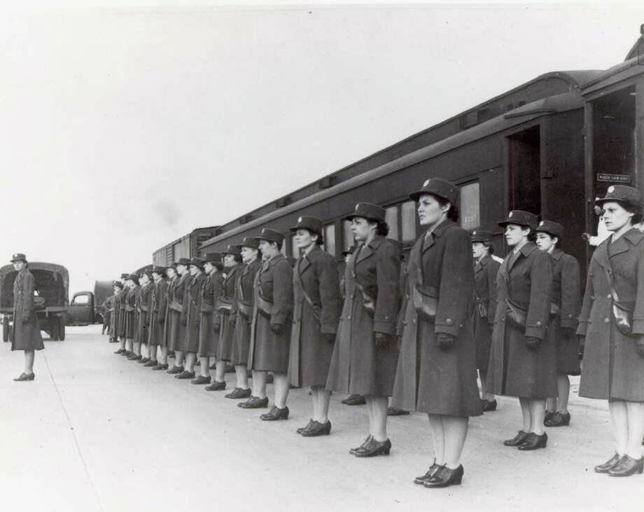 Members of the Women's Auxiliary Army Corps stand in formation at Fort Sam Houston. The first female recruits arrived at Fort Sam Houston in December 1942. Photo: Fort Sam Houston Museum.