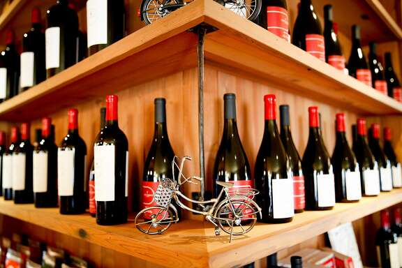 Bicycles decorate the Velo Vino tasting room in St. Helena, Calif., on Sunday, October 11, 2015.