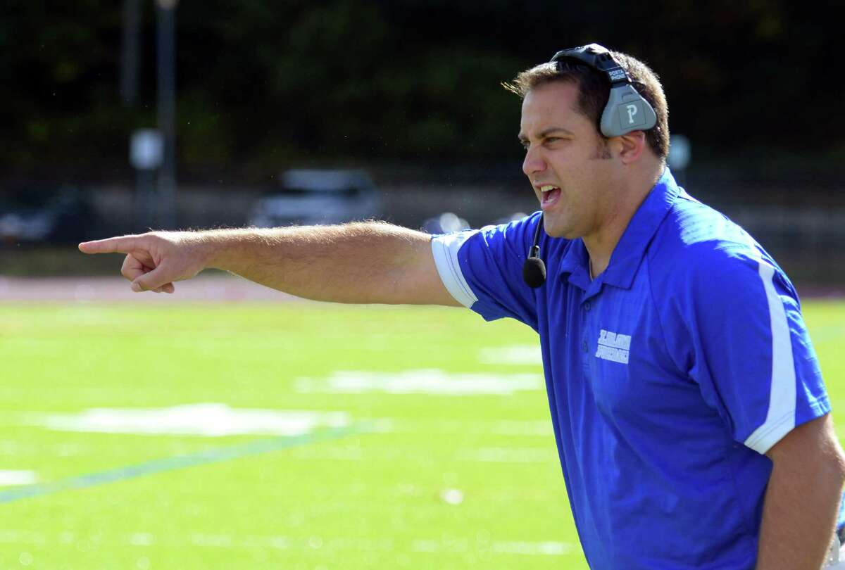 Fairfield Ludlowe Head Coach Vin Camera during high school football action against Westhill in Fairfield, Conn. on Saturday October 17, 2015.