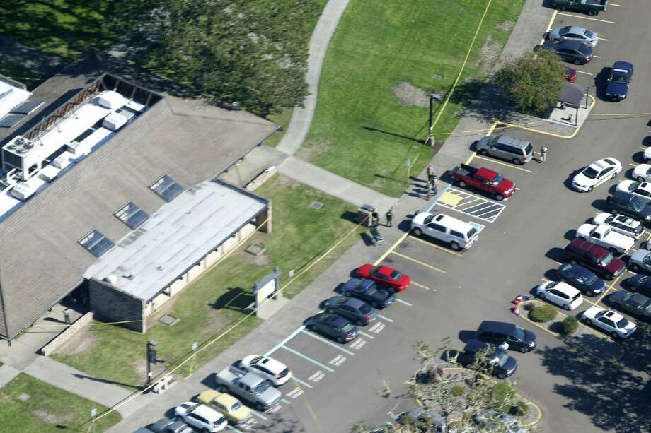 FILE- This Oct. 1, 2015, photo shows an aerial view of Umpqua Community College, in Roseburg, Ore., where a deadly shooting occurred. Chris Mintz, an Oregon college student celebrated as a hero for running toward danger while a gunman opened fire at Umpqua Community College, said Friday, Oct. 16, in a statement posted on Facebook that the shooter showed no emotion as he shot Mintz mulitple times. (Thomas Boyd /The Oregonian via AP, File) MAGS OUT; TV OUT; NO LOCAL INTERNET; THE MERCURY OUT; WILLAMETTE WEEK OUT; PAMPLIN MEDIA GROUP OUT; MANDATORY CREDIT Photo: Thomas Boyd, MBI / The Oregonian