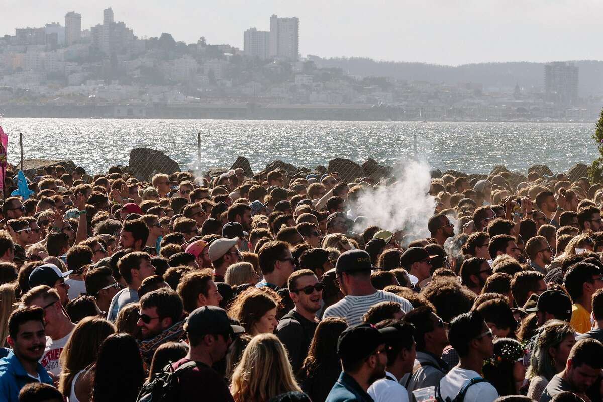 A plume from a vaporizer rises up at Treasure Island Music Festival in San Francisco, Calif., Saturday, October 17, 2015.