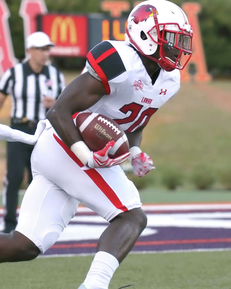 Rodney Randle returns a kickoff during the game between the Lamar Cardinals and the Northwestern State Demons at Turpin Stadium in Natchitoches, LA, Saturday, October 17th, 2015 - photo provided by Kyle Ezell