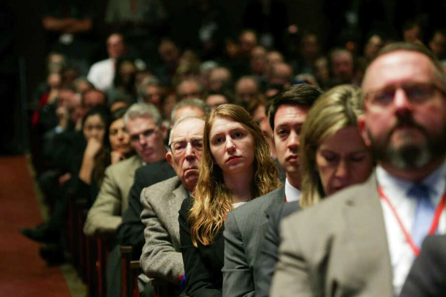 Audience members look on as President Barack Obama speaks during the Summit on Cybersecurity and Consumer Protection at Stanford University in Palo Alto, Calif., Feb. 13, 2015. (Jim Wilson/The New York Times) Photo: JIM WILSON, STF / NYTNS