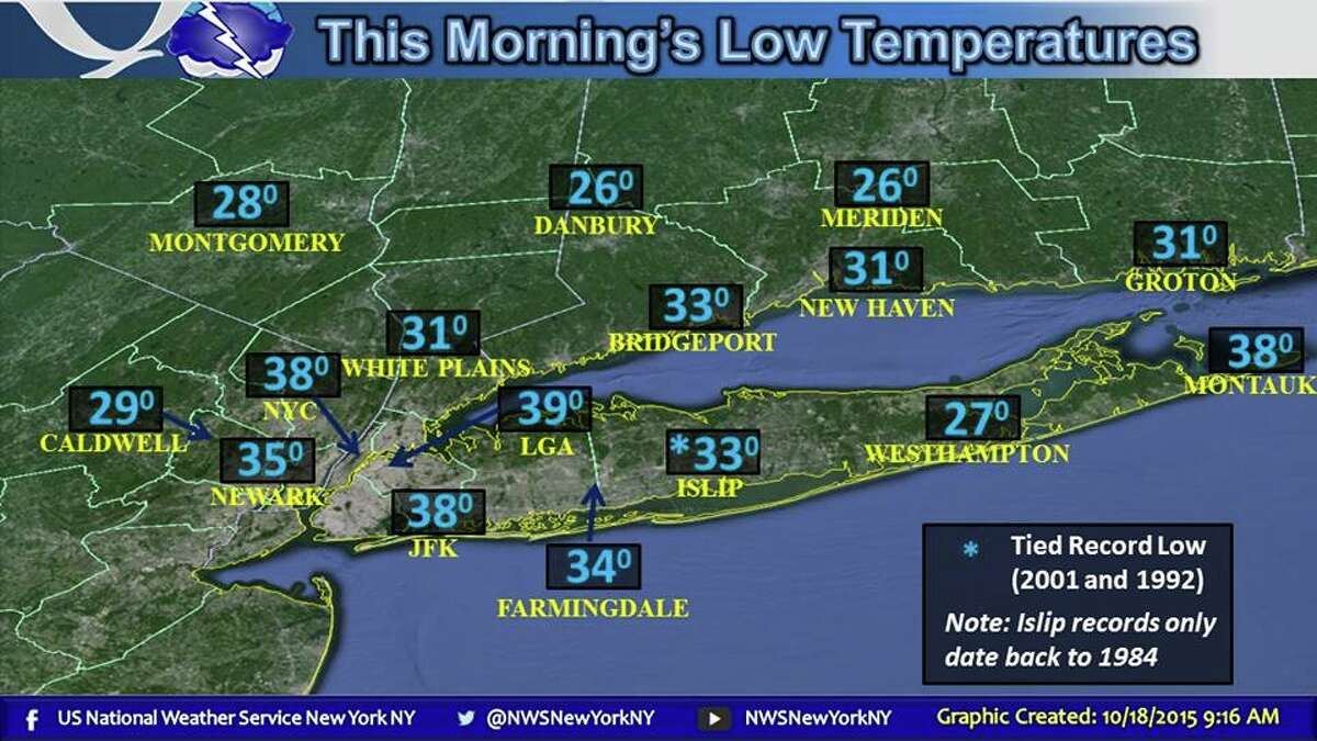 Low temperatures in the region for Sunday, Oct. 18