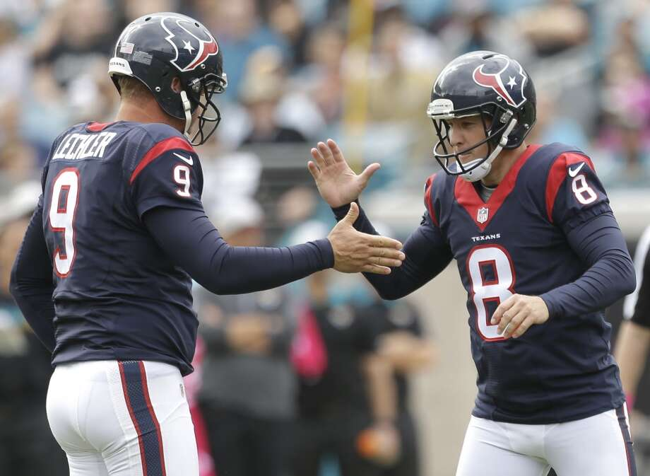 Houston Texans kicker Nick Novak (8) slaps hands with holder Shane Lechler (9) after Novak hit a 41-yard field goal against the Jacksonville Jaguars during the second quarter of an NFL football game at EverBank Field on Sunday, Oct. 18, 2015, in Jacksonville. ( Brett Coomer / Houston Chronicle ) Photo: Brett Coomer, Houston Chronicle